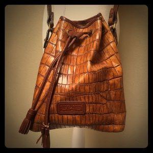 Dooney & Bourke Croc Leather Drawstring Bucket Bag
